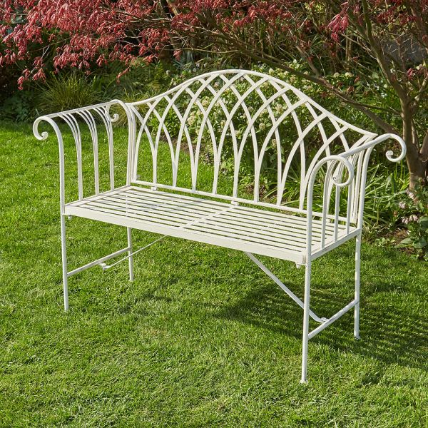 Overlapping lattice arched back garden bench in ornate metal design