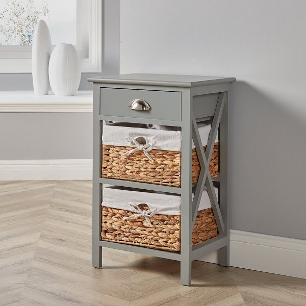 Solid wood and MDF grey bedside cabinet with 2 woven baskets and drawer