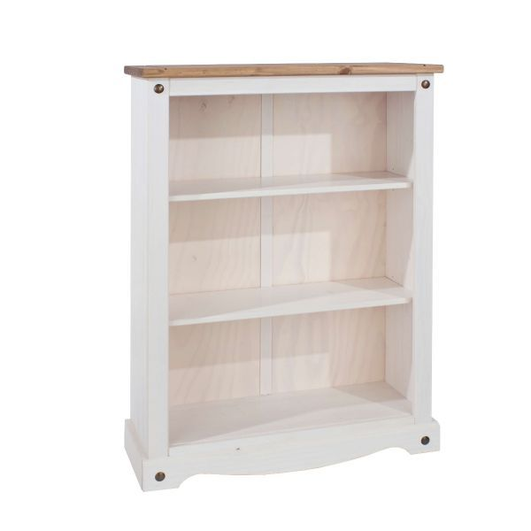 Solid wood, white low bookcase