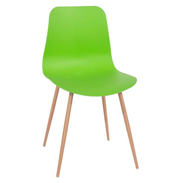 Green plastic dining chair with 4 metal legs