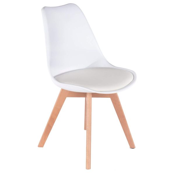 White padded dining chair with wooden legs