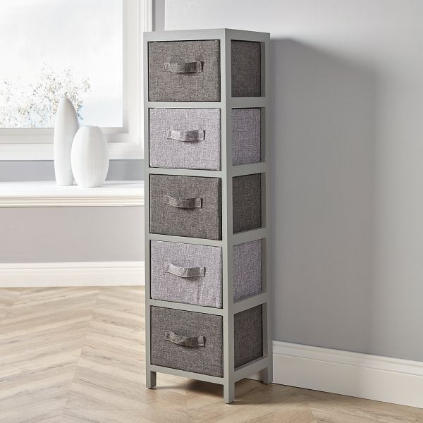 Solid wood 5 drawer storage with fabric drawers in two-tone grey