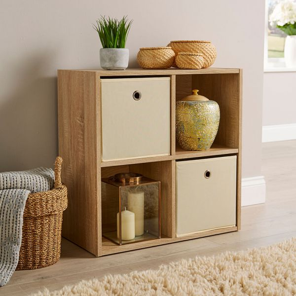 Versatile 4 cube storage in oak, with canvas pull-out drawers