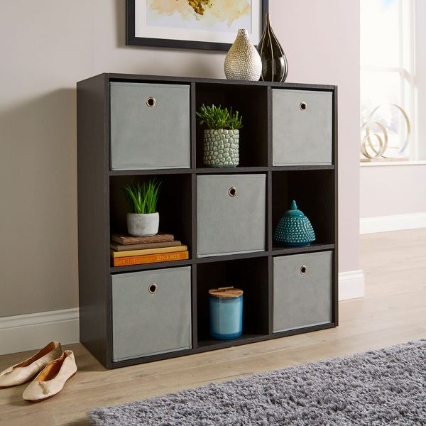 Versatile 9 cube storage in black, with canvas pull-out drawers
