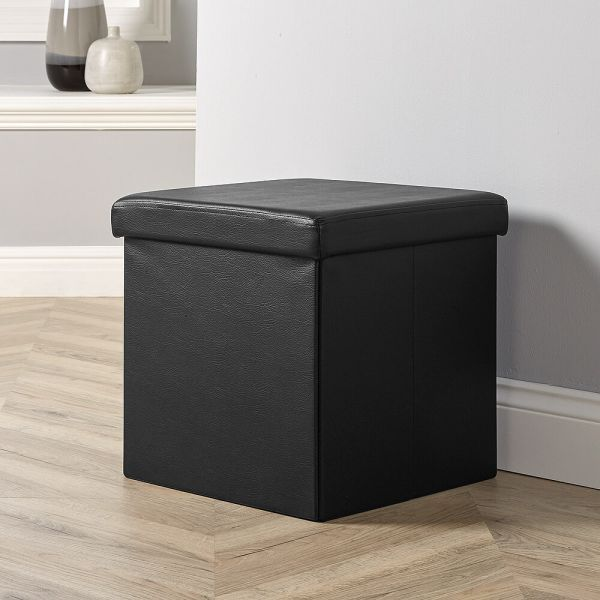 Black MDF-framed faux leather square folding ottoman