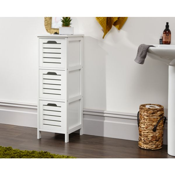 Bergen 3 Drw Storage Chest White