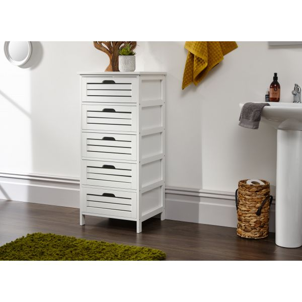 Bergen 5 Drw Storage Chest White