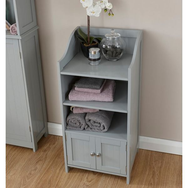 Grey painted MDF 2 door cupboard with 3 open shelves