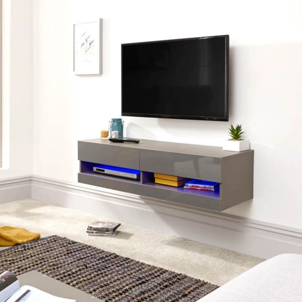 Grey LED floating tv stand with 2 compartments