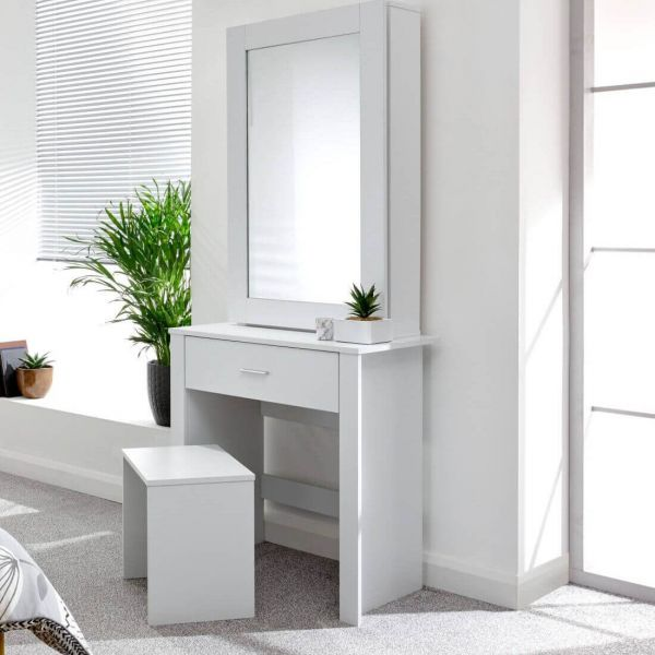 White dressing table set with mirrored cabinet and 1 drawer