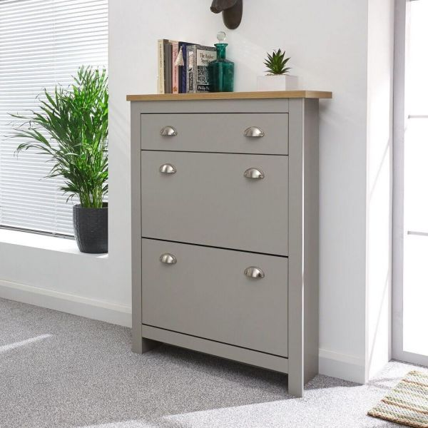 Grey 2 tier shoe unit with extra drawer and oak top