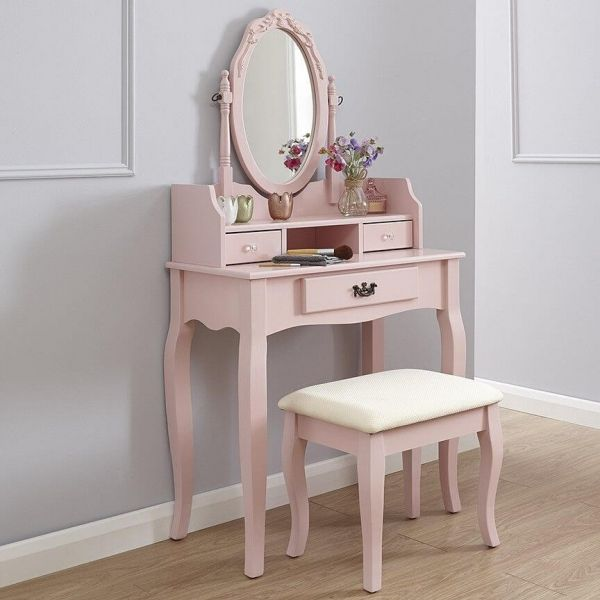 Pink dresser set with mirror, 3 drawer spaces and stool with curved legs