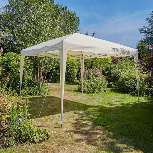 3x3m water resistant fabric pop up beige gazebo