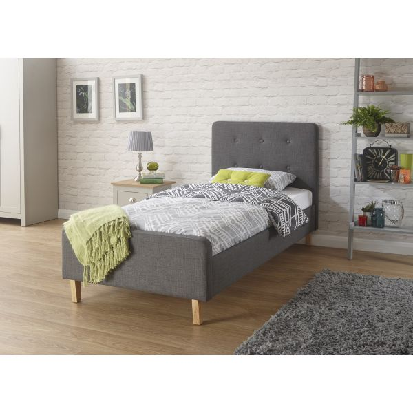 3ft grey fabric single bed with button detailed headboard and small footboard, with wooden legs