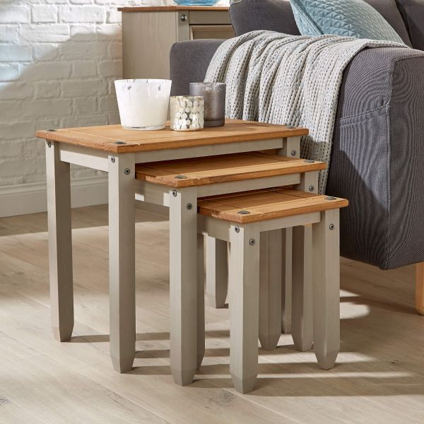 Grey wooden nest of 3 tables with natural wooden top