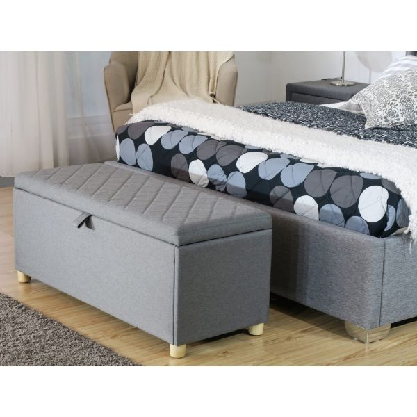 Large grey ottoman with diamond padded top seat and gas lift mechanism