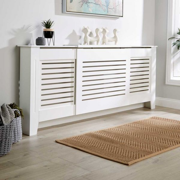 White wooden extending large radiator cover horizontal slats