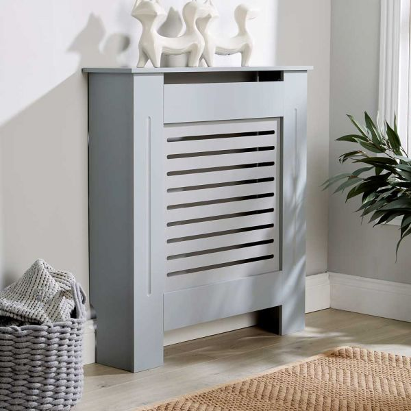 Grey wooden small radiator cover horizontal slats