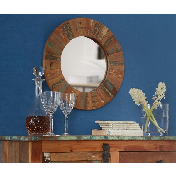 Reclaimed wood round mirror in brown