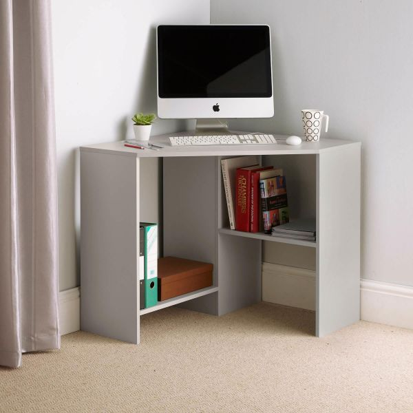 Grey computer desk fit for a corner with 2 lower shelves on different levels