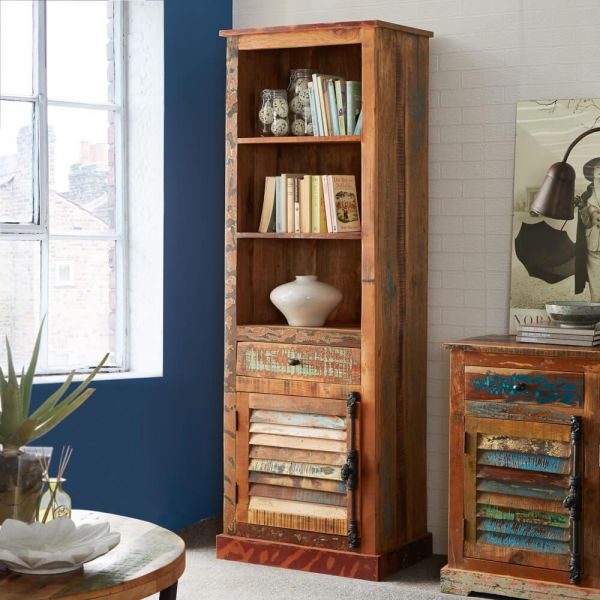 Reclaimed multicolour boat wood 3 tier tall bookcase with cupboard storage