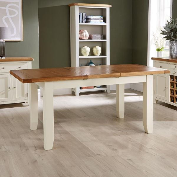 Solid wood extending dining table white painted legs