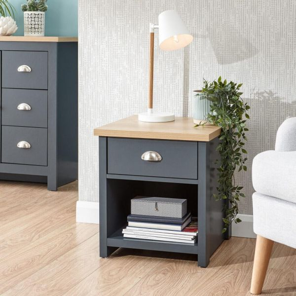 Blue lamp table with 1 drawer, undershelf and natural wood effect top
