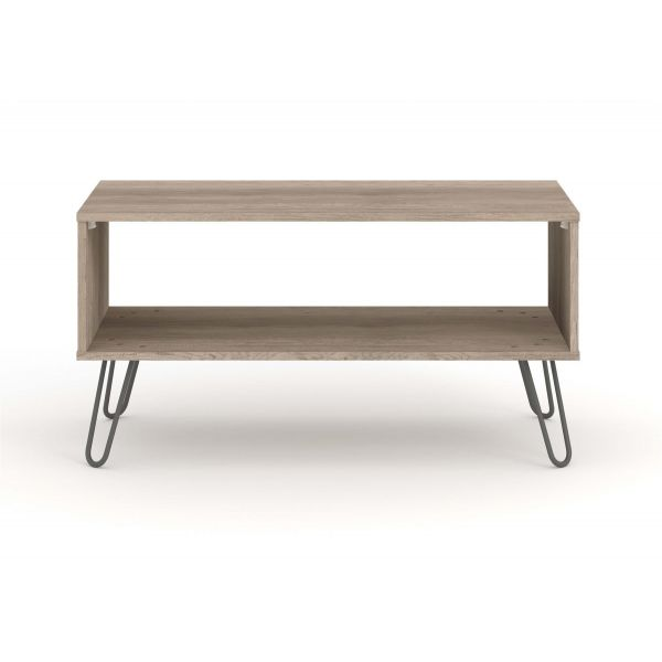 Coffee Table Open Under Storage Shelf Driftwood Effect Finish and metal legs