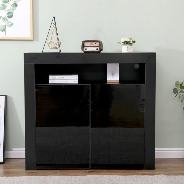 Black modern sideboard with 2 gloss doors and shelf space
