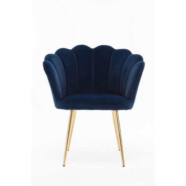 Blue fabric scallop accent chair with gold metal legs
