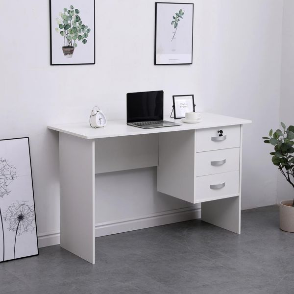 White office desk with 3 drawers on the right hand side with silver metal handles