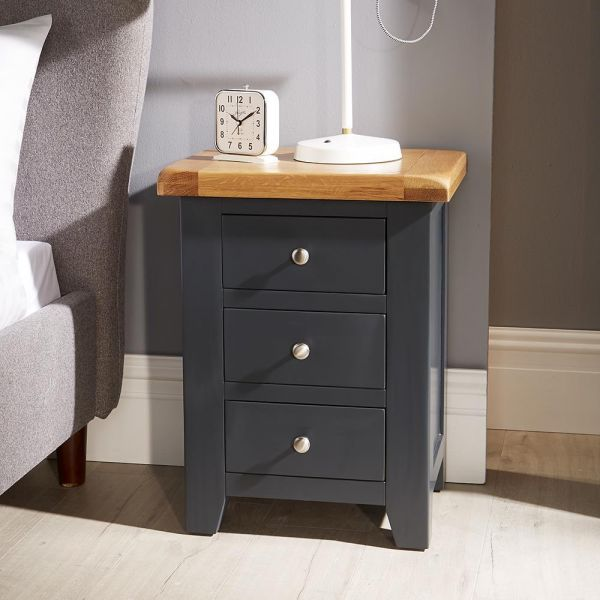 Solid oak blue bedside table chest with natural wood top