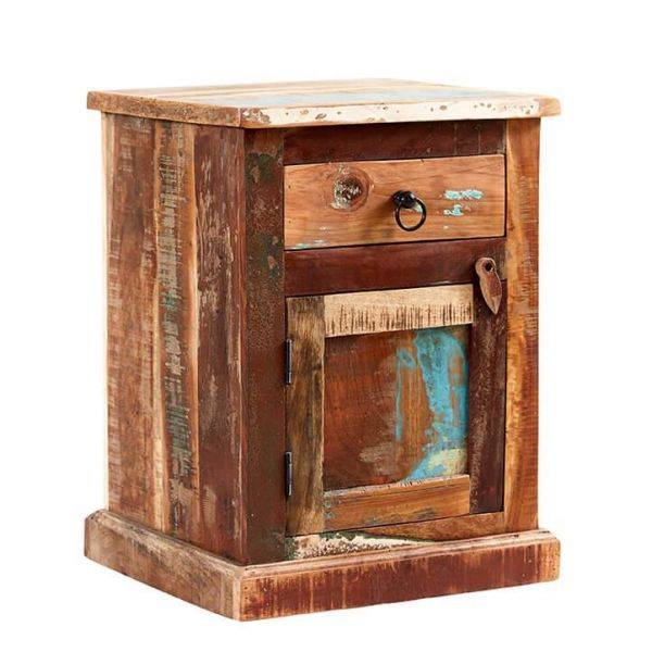 Reclaimed multicolour boat wood bedside chest cabinet with reclaimed metal handles and drawer