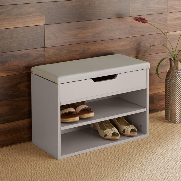 Grey shoe cabinet with 2 shelves, and another storage area under a light grey cushioned top