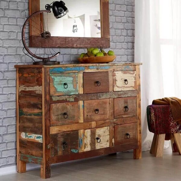 Reclaimed wood 9 drawer chest of drawers