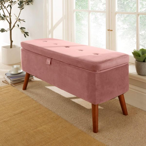 5 button detailed blush velvet rectangular storage ottoman with wooden frame