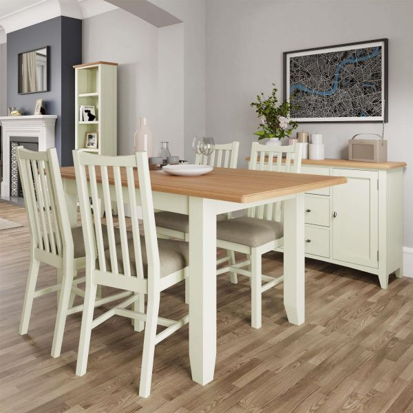 white painted wooden two tone extending 1.6m dining table with oak top