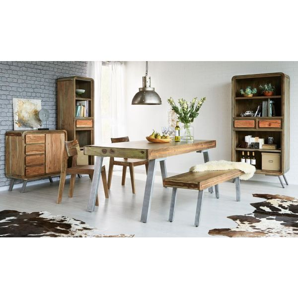 Wooden mango medium dining table with metal legs