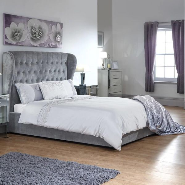 Silver silk look ottoman double bed with large headboard