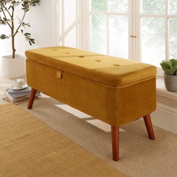 5 button detailed ochre velvet rectangular storage ottoman with wooden frame