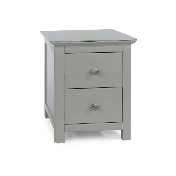 Simple design grey 2 drawer bedside cabinet with round metal knobs