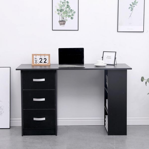 Black office desk with 3 drawers, silver metal drawer handles and 3 shelf spaces on the inside for other storage