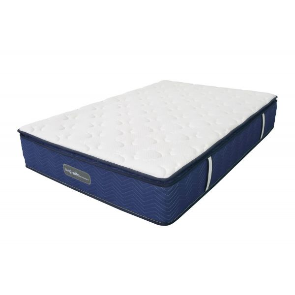 Double size 4ft 6 Comfynite range mattress with blue sides, foam filling with zone pocket springs and light  soft jacquard fabric
