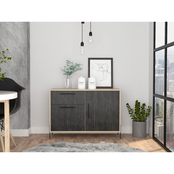 Sideboard With 2 Doors and 1 Drawer In Grey Oak Effect and Black metal legs and handles