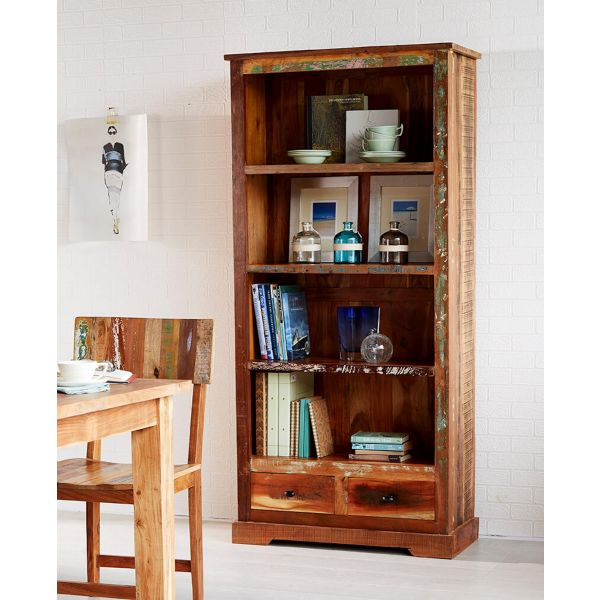 Reclaimed multicolour boat wood large 4 tier display bookcase with drawer storage