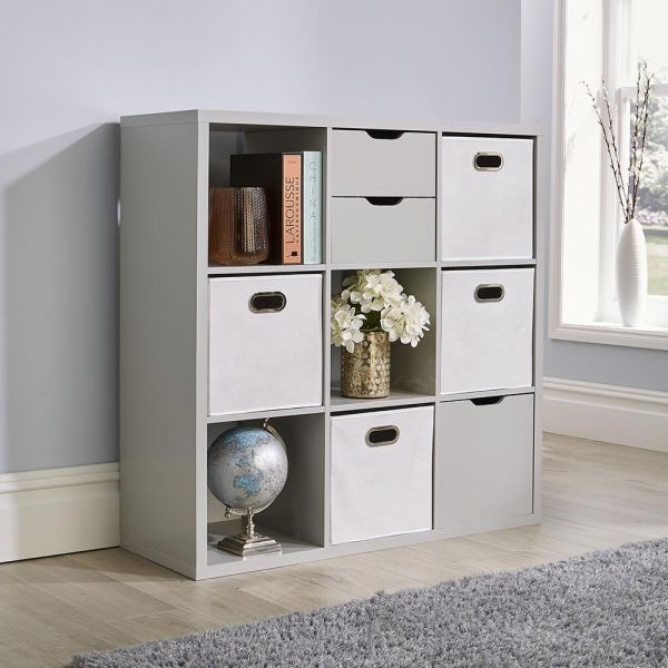 Deluxe chunky grey 9 cube storage unit with optional solid or fabric drawers