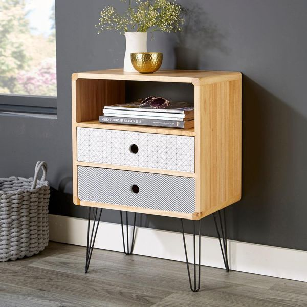 Natural coloured solid wooden 2 drawer bedside table with contrast coloured front, undershelf and metal legs