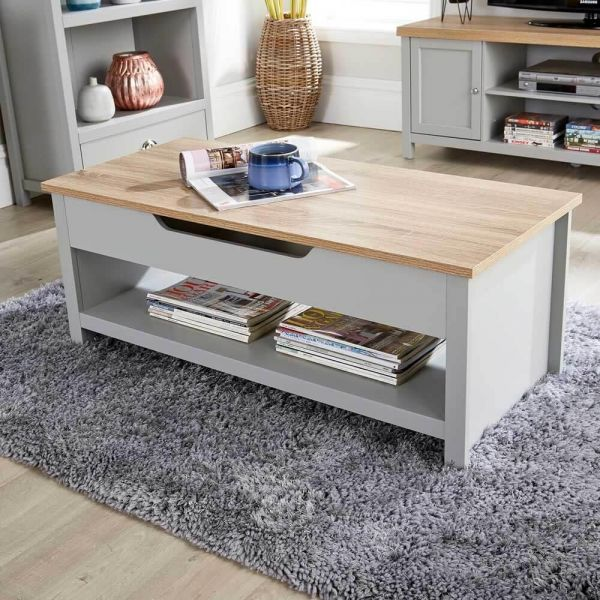 Grey oak lift up coffee table with storage