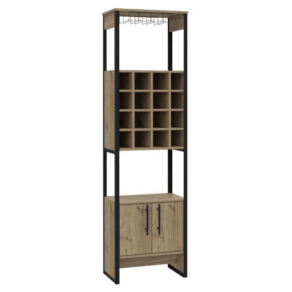 Tall sideboard with 2 drawers, wine rack in the middle and wine glass holder at the top, with black metal frame