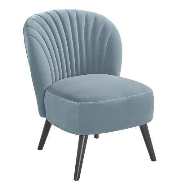 Light blue shell-like designed accent chair with dark solid wood shaker-style legs